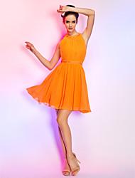 povoljno -A-kroj Haljina sa širokom suknjom Ovalni izrez Kratki / mini Šifon Koktel zabava Maturalna zabava Praznik Haljina s Aplikacije Drapirano