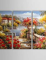 cheap -Hand-Painted Landscape Three Panels Canvas Home Decoration