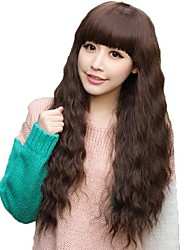 cheap -Corn Roll Deep Wave Full Bang Synthetic Long Wavy Wigs Heat Resistant