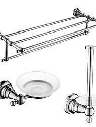 cheap -Bathroom Accessory Set High Quality Barroco Brass 3pcs - Hotel bath soap dish tower bar Toilet Paper Holders