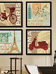 baratos -Arquitetura Quadros Emoldurados / Conjunto Emoldurado Wall Art,PVC Preto Sem Cartolina de Passepartout com frame Wall Art