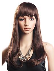 20% Human Hair 80% Synthetic Heat-resistant Fiber Hair Full Bang Wavy Long Wig