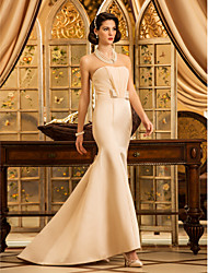 cheap -Mermaid / Trumpet Strapless Sweep / Brush Train Satin Wedding Dress with Sash / Ribbon Bow Draped by LAN TING BRIDE®