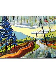 Óleo pintado mão Pintura Paisagem dos desenhos animados da estrada, com quadro esticado