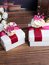 Cubic Favor Holder With Flowers Ribbons Favor Boxes-12 Wedding Favors