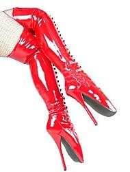 Botas 7in Altura do salto das mulheres sobre as botas do joelho Sexy sapatos, botas de balé