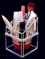 メイク用品収納 化粧品箱 / メイク用品収納 アクリル ゼブラプリント 13x9x9