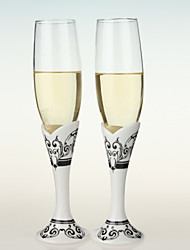 Wedding Toasting Flutes With Black & White Damask Print Stem