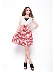 Doux taille haute de Zoely Femmes Ruffle Résumé Stripe A-Line Robe moulante 101122L086
