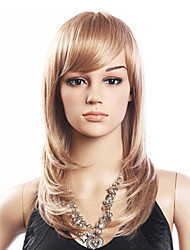 High Quality 20% Human Hair & 80% Heat-resistant Fiber Hair Capless Medium Curly Wig(Platinum Blonde)