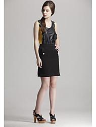 Sexy Strap Ortográfica Teste padrão de couro de mangas Zoely Mulheres Vest 101123M015