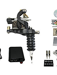 Tattoo Machine Kit 1 Cast Iron Machine Liner & Shader 10 Tattoo Needles RL3