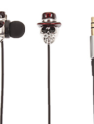 Skull-Shaped Stereo In-Ear Headphone (Red Hat)