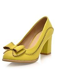 Feminino Sapatos Courino Primavera Verão Outono Inverno Salto Grosso Laço Para Social Amêndoa Preto Branco Amarelo