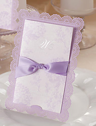 "Wrap & Pocket Wedding Invitations 50-Invitation Cards Floral Style Art Paper 7 1/5""×5"" (18.4*12.8cm) Bows"