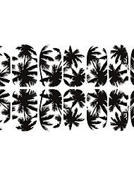 12st Black White Coconut Tree Luminous Nail Art Sticker