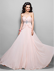 cheap -Sheath / Column Strapless Sweep / Brush Train Chiffon Prom Dress with Beading by TS Couture®