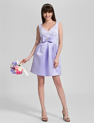 cheap -A-Line V Neck Knee Length Lace / Satin Bridesmaid Dress with Bow(s) / Crystals / Lace by LAN TING BRIDE®