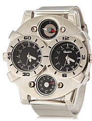 Herren Militäruhr Armbanduhr Quartz Duale Zeitzonen Edelstahl Band Silber Weiß Schwarz
