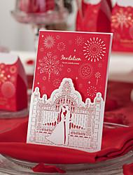 cheap -Red Classic Theme Laser Cut Wedding Invitation-Set Of 50/20