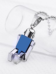 Personalized Gift  Jewelry Robot Shaped  Engraved Pendant Necklace with  60cm Chain