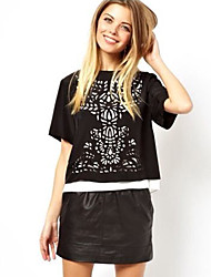 economico -Girocollo Loose Fit T Shirt Semplice Casual Maxlove donne