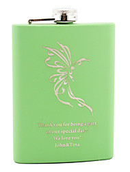 Personalized Stainless Steel 8-oz Flask - Dancing Butterfly