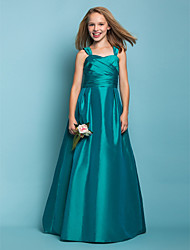 cheap -A-Line / Princess Straps Floor Length Taffeta Junior Bridesmaid Dress with Sash / Ribbon / Criss Cross / Ruched by LAN TING BRIDE® / Spring / Summer / Fall / Apple / Hourglass