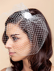 cheap -Wedding Veil One-tier Blusher Veils Birdcage Veils Tulle White Black A-line, Ball Gown, Princess, Sheath/ Column, Trumpet/ Mermaid