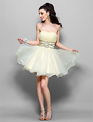cheap -A-Line Princess Strapless Sweetheart Short / Mini Tulle Holiday Dress with Beading by TS Couture®