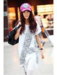 YinShang Frauen Rundhals Muster A Loose Fit langes T-Shirt