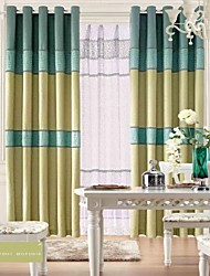 cheap -(Two Panels)Linen Classic Stripe Curtain  Panel With Sheer Set