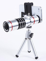 Universal Aluminum Alloy 18X Telephoto Zoom Lens Set with  metal clip - Silver