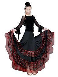 abordables -Danse de Salon Robes Femme Entraînement Tulle Volants Manches Longues Taille moyenne / Danse moderne / Spectacle / Salle de bal