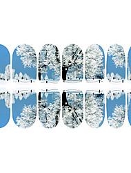 12PCS Snow Road Home Luminous Nail Art Stickers