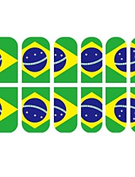 abordables -12 PC 3D Full Finger Nail Conseils Autocollants Pour les fans de football du Brésil