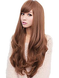 cheap -Synthetic Wig Wavy With Bangs Synthetic Hair Side Part / With Bangs Brown / Gray Wig Women's Long Capless