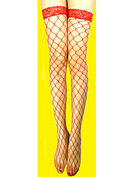 Women's Hosiery Thin Stockings,Nylon Lace Patchwork White Black Red
