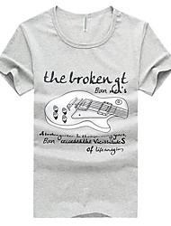 T-shirt Uomo Casual Con stampe Cotone Manica corta-Bianco / Giallo / Grigio