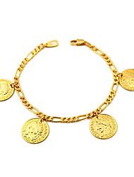 Недорогие -u7® Figaro цепи золота заполнены монет прелести браслеты браслеты 18k реальное золото с гальваническим покрытием из 18-каратного марки 2мм 21см