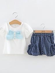 baratos -Summer manga curta camisa branca de T da menina e Blue Dot curto dois pedaços de pano Set
