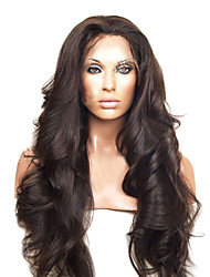 cheap -Virgin Human Hair Lace Front Wig Peruvian Hair Wavy / Loose Wave Wig Natural Hairline / African American Wig / 100% Hand Tied Women's Human Hair Lace Wig