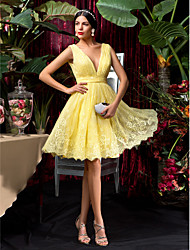 A-Line V-neck Knee Length Lace Bridesmaid Dress with Lace Sash / Ribbon Pleats by LAN TING BRIDE®