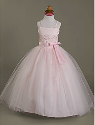 Ball Gown Floor Length Flower Girl Dress - Tulle Sleeveless Spaghetti Straps Sweetheart by LAN TING BRIDE®
