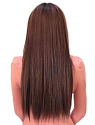Недорогие -Высокое сопротивление температуры Chocolate Brown 22 дюймовый Длинные прямые 5 Клип парики Расширение