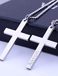 cheap -Personalized Gift Cross Stainless Steel Jewelry   Engraved Pendant Necklace with  60cm Chain