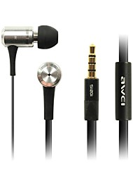 Fashion Awei 100i 3.5mm Plug In-ear Aluminium legering Super Bass Mikrofon Earphones-Samsung-Black/Red/Pink/Silver