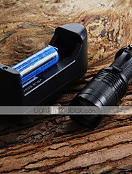 Mini LED Torch 7W 300LM CREE Q5 LED Flashlight Adjustable Focus Zoom Flashlight + 14500 3.6V Battery + Battery Charger