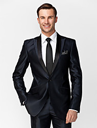 Dark Blue Polyester Tailored Fit Two-Piece Tuxedo