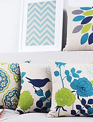 conjunto de 4 modernas belas aves elegantes e plantas capas de almofadas decorativas